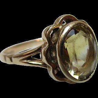 Vintage{Birmingham 1976} 9ct Solid Gold 'Cushion Shaped' Citrine Gemstone Ring