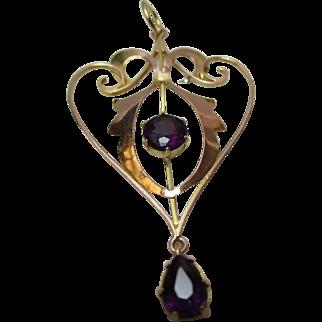 Ornate Antique, 'Art Nouveau' 9ct Gold Amethyst Gemstone Open-work Pendant + Dropper