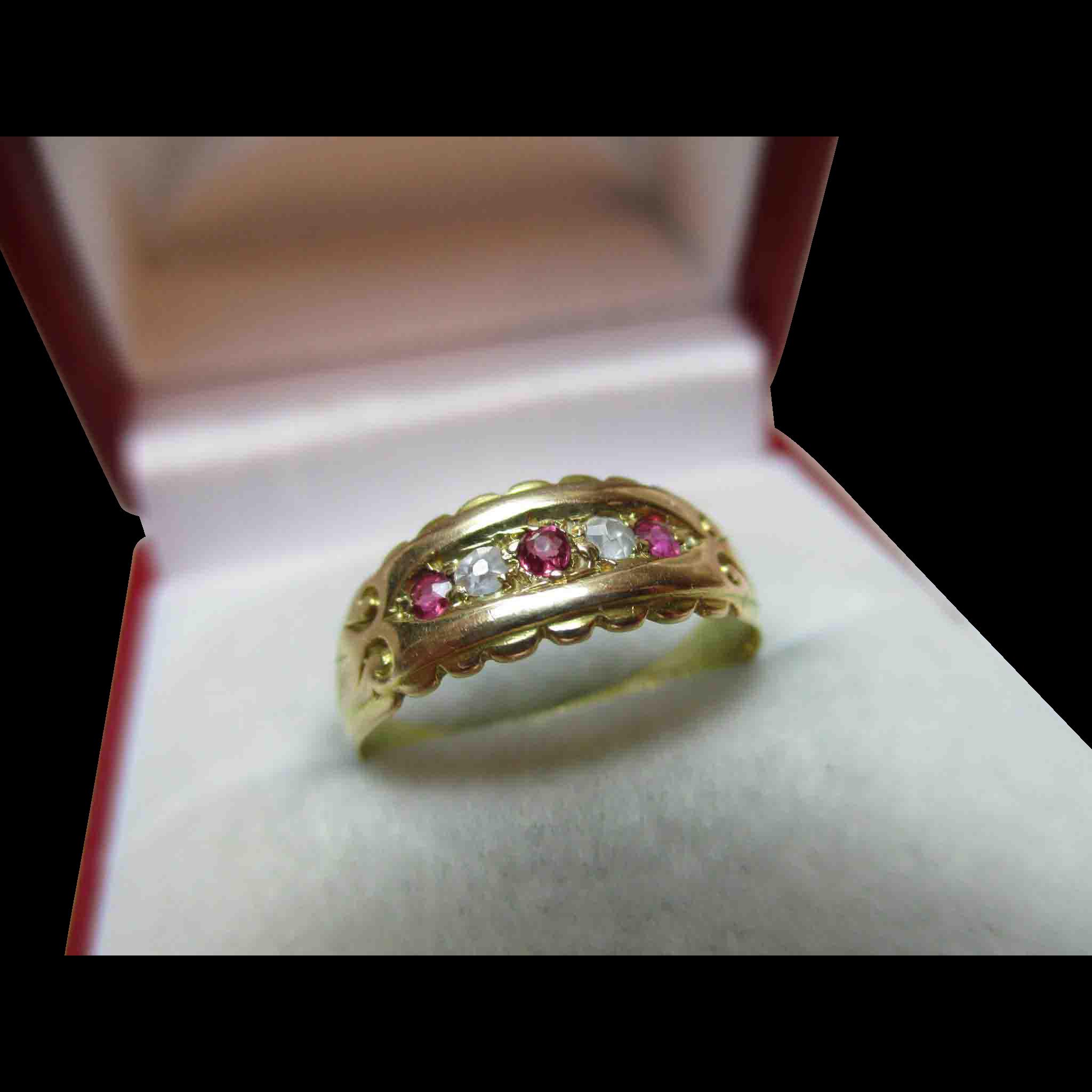 Pretty Victorian{Birmingham 1897} 18ct Gold 5-Stone Diamond + Ruby Gemstone Ring