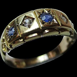Ornate{Birmingham 1920} 18ct Solid Gold 5-Stone  Diamond + Sapphire Gemstone Ring