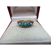 Decorative Victorian{Birmingham 1869} 15ct Solid Gold Turquoise + Split Seed-Pearl Gemstone Ring