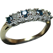 Attractive Vintage 9ct Solid Gold 7-Stone White + Coloured Diamond Gemstone 'Half Eternity' Ring{0.5Ct Diamond Weight}