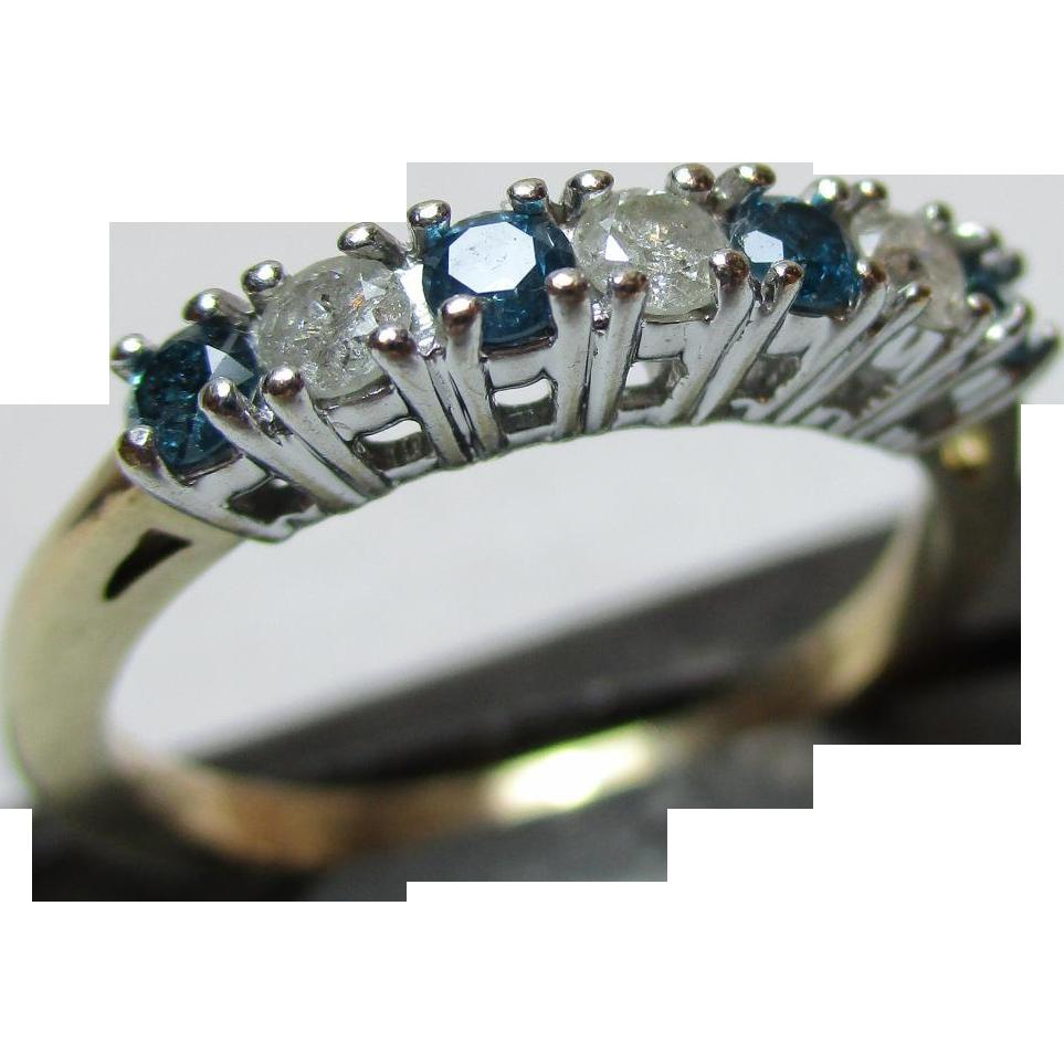Attractive Vintage 9ct Solid Gold 7-Stone White + Coloured Diamond Gemstone 'Half Eternity' Ring{0.5Ct Diamond Weight}