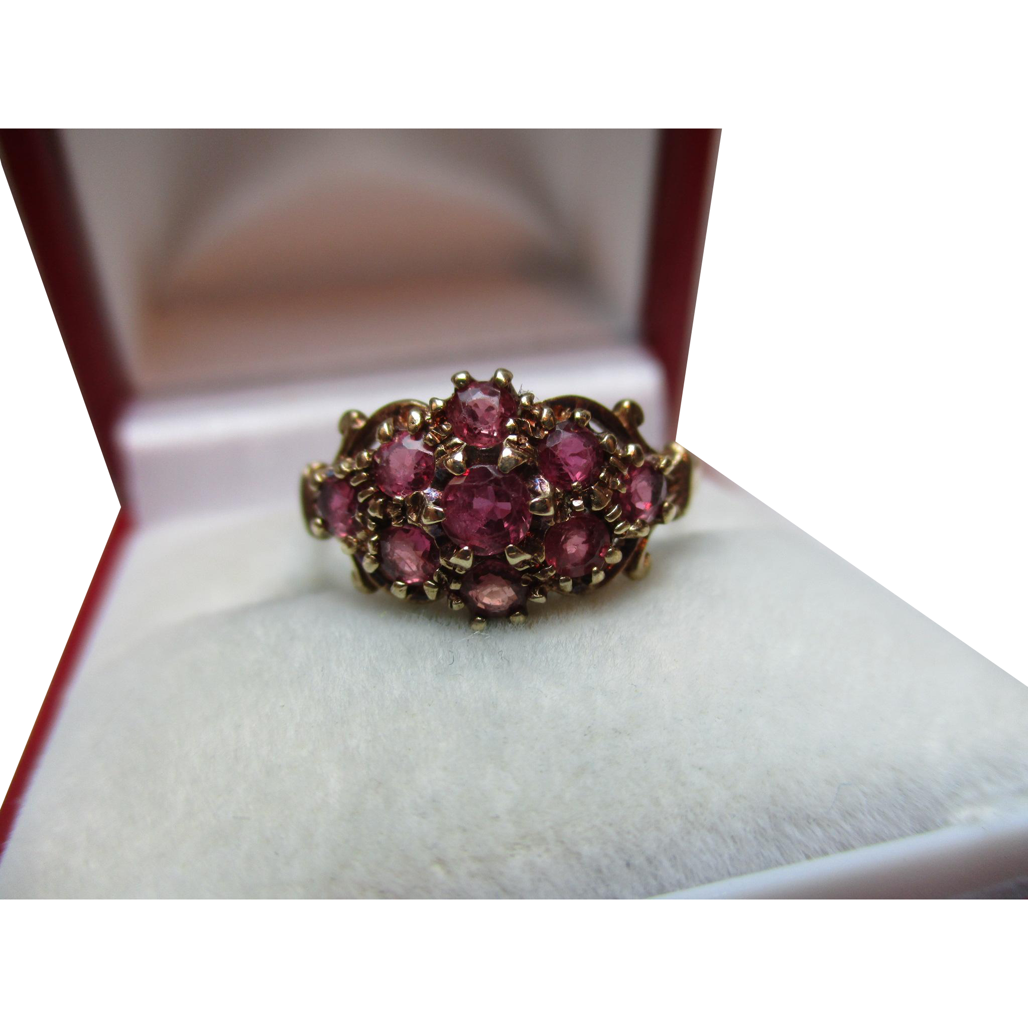 Decorative Vintage{Edinburgh 1991} 9ct Solid Gold Ruby Gemstone Cluster Ring{0.7Ct Ruby Weight}