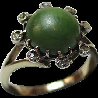 Pretty Antique 9ct Solid Gold Diamond + Jadeite Gemstone Cluster Ring