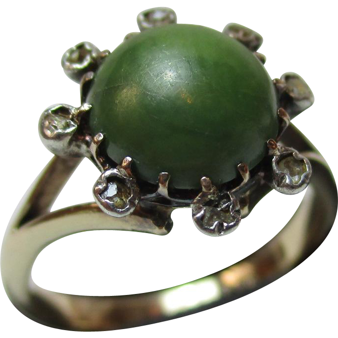 Pretty Antique 9ct Solid Gold Diamond + Jadeite Gemstone Cluster Ring