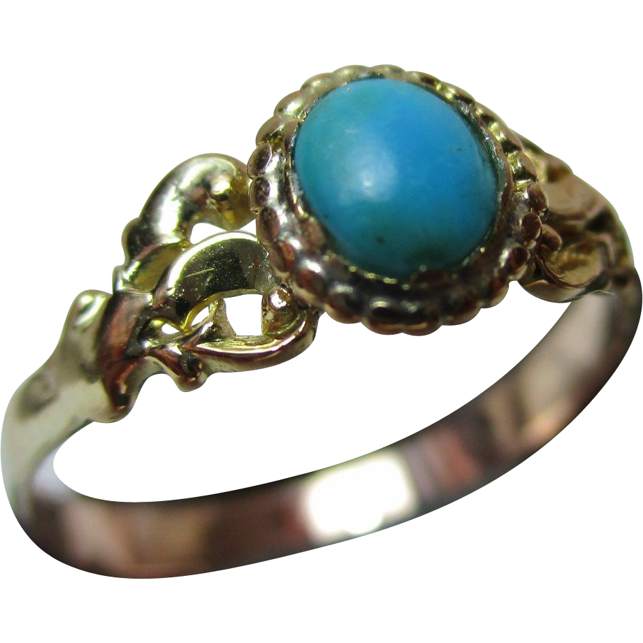Charismatic Georgian 18ct Solid Gold, Turquoise Solitaire Gemstone Ring