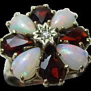 Pretty Vintage{London 1975} 9ct Solid Gold Diamond, Opal + Garnet Gemstone Cluster Ring{3.3 Grams}