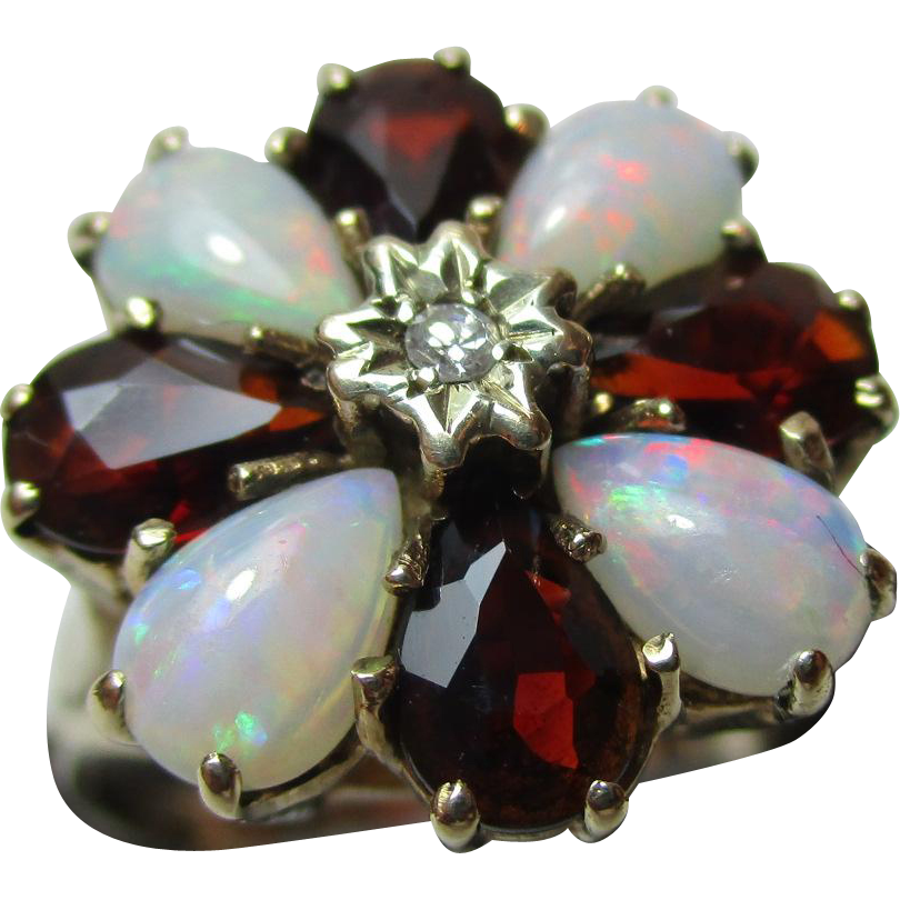 Pretty Vintage{London 1975} 9ct Solid Gold Diamond, Opal + Garnet Gemstone Cluster Ring{3.3 Grams}