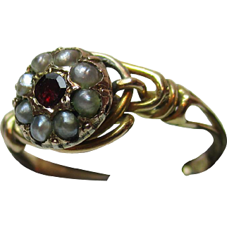 Pretty Georgian 15ct Solid Gold Almandine Garnet + Split Seed-Pearl Gemstone Cluster Ring