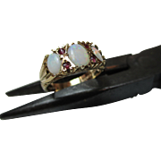 Attractive Vintage{B'ham 1979} 9ct Solid Gold 7-Stone Ruby + Opal Gemstone Ring{3.6 Grams}{1.3Ct Opal Weight}