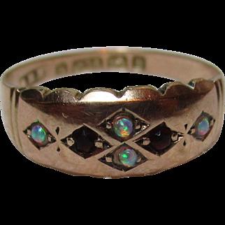 Ornate Victorian{Birmingham 1882} 9ct Rose Gold Opal + Garnet Gemstone Ring