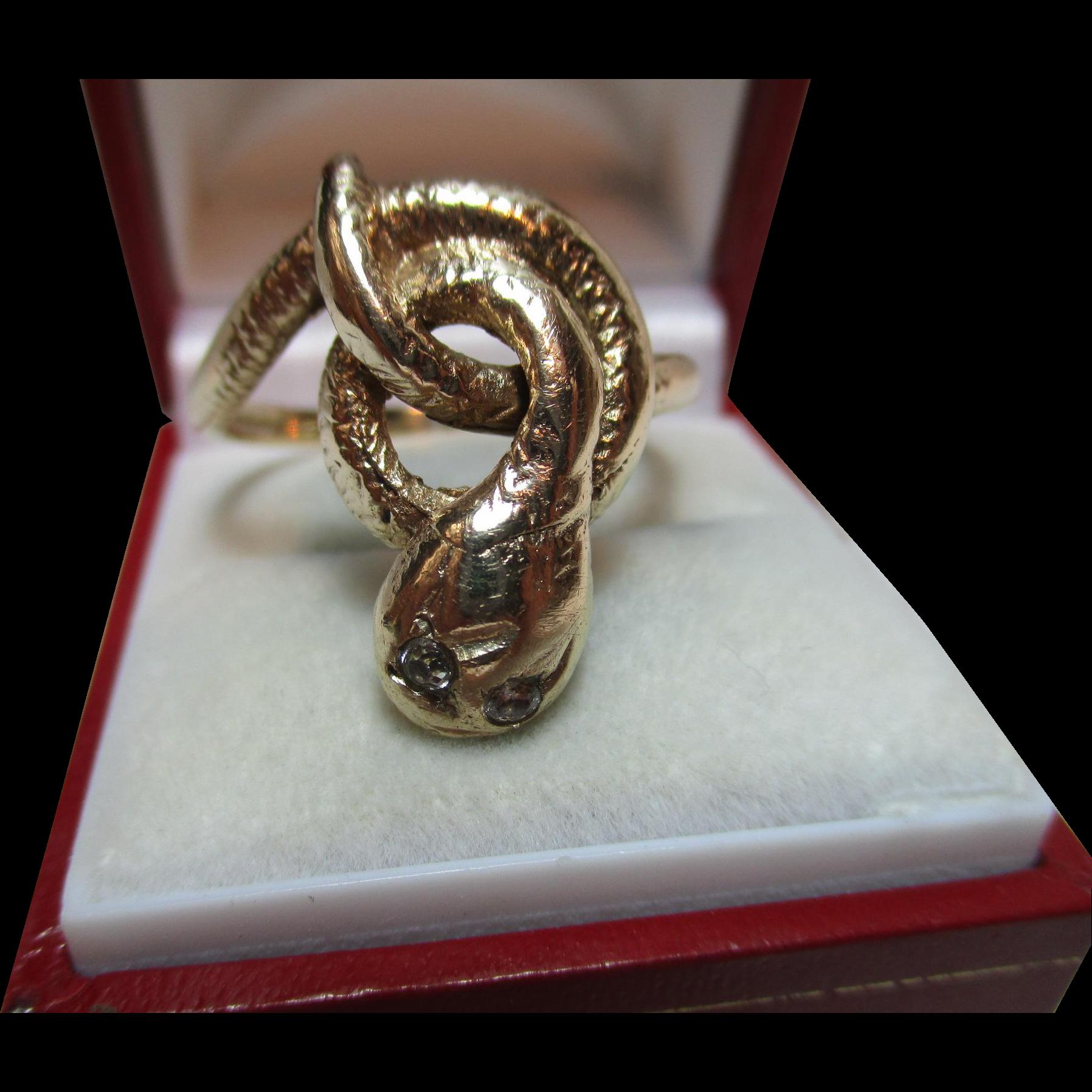 Large Vintage{Birmingham 1975} 9ct Solid Gold 'Snake' Ring With Diamond Gemstone Eyes{9.1 Grams}