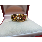 Vibrant Mid-Edwardian{Chester 1905} 18ct Gold 3-Stone Moonstone + Garnet Gemstone Ring