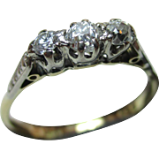 Quality Antique 18ct Solid Gold 3-Stone Diamond Gemstone 'Trilogy' Ring{0.4Ct Diamond Weight}