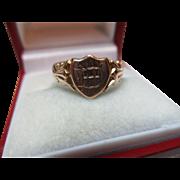 Decorative Antique{Birmingham 1917} 9ct Solid Rose Gold 'Shield Shaped' Signet Ring