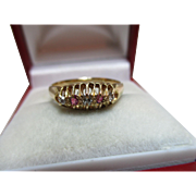 Decorative{Birmingham 1920} 18ct Solid Gold 5-Stone Diamond + Ruby Gemstone Ring