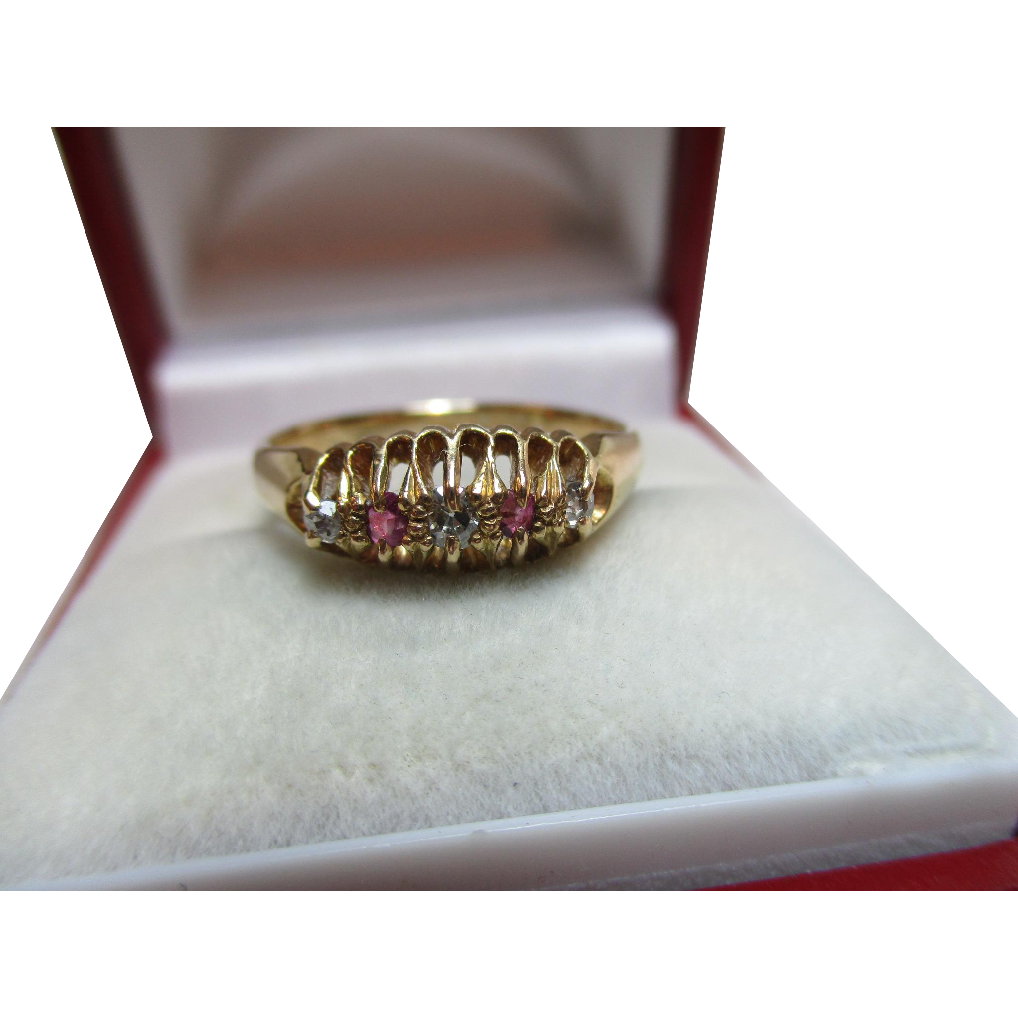 Decorative{Birmingham 1920} 18ct Solid Gold 5-Stone Diamond + Ruby Gemstone Ring