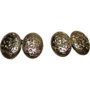 Decorative Early Edwardian{Chester 1901} 9ct Gold 'Oval Shaped' Chain-Link Cufflinks