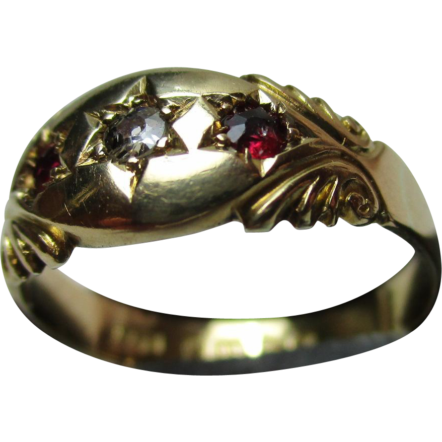 Decorative Antique{Chester 1913} 18ct Solid Gold 3-Stone Diamond + Ruby Gemstone Ring