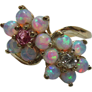 Delightful Vintage 9ct Solid Gold Diamond, Ruby + Opal Gemstone Double Cluster Twist Ring{3.1 Grams}