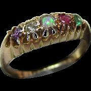 Pretty{London 1931} 18ct Solid Gold Diamond, Emerald, Ruby, Opal + Amethyst Gemstone 'Adore' Ring