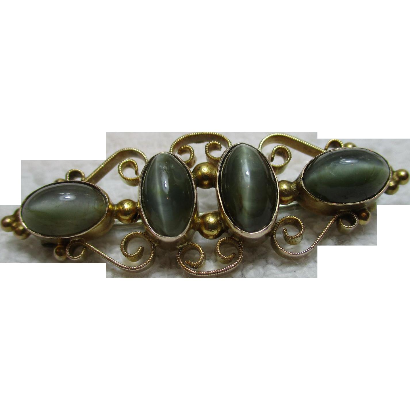 Ornate Antique 9ct Gold Dark Green Chrysoberyl Cat's Eye Gemstone Bar Brooch