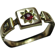 Ornate Victorian{Birmingham 1892} 15ct Solid Gold 3-Stone Diamond + Ruby Gemstone Ring
