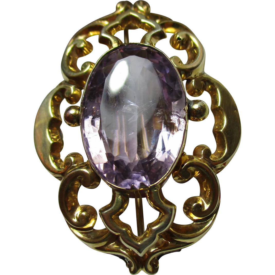 Decorative 'Art Nouveau' 9ct Gold Oval Shaped Amethyst Gemstone Bar Brooch{9.3 Grams}