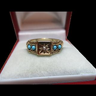 Attractive Vintage{Birmingham 1988} 9ct Solid Gold 5-Stone Diamond + Turquoise Gemstone Ring