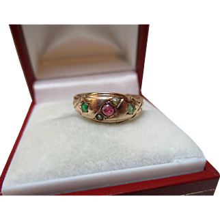 Attractive Antique{Birmingham 1915} 9ct Solid Rose Gold Emerald, Ruby + Split Seed-Pearl Gemstone 'Suffragette' Ring