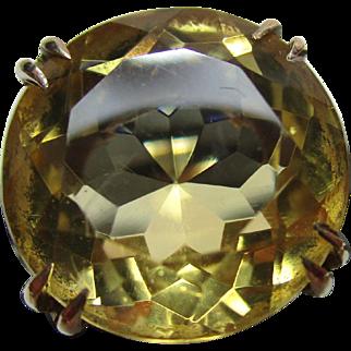 Vibrant 9ct Solid Gold Circular Shaped Citrine Gemstone Ring{4.9 Grams}