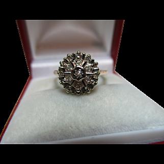 Pretty Vintage{Birmingham 1979} 9ct Solid Gold Diamond Gemstone  Cluster Ring{0.2Ct Weight}
