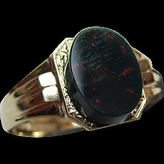 Gents' Attractive Vintage{Birmingham 1959} 9ct Solid Gold Bloodstone Gemstone Ring{4.4 Grams}