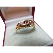 Decorative Antique{Chester 1917} 18ct Solid Gold 5-Stone Diamond + Ruby Gemstone Ring{3.1 Grams}
