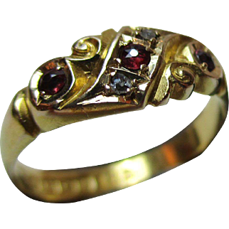 Ornate Edwardian{Birmingham 1906} 18ct Solid Gold 5-Stone Diamond + Ruby Gemstone Ring
