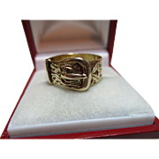 Decorative 9ct Solid Gold Buckle Ring{4.8 Grams}
