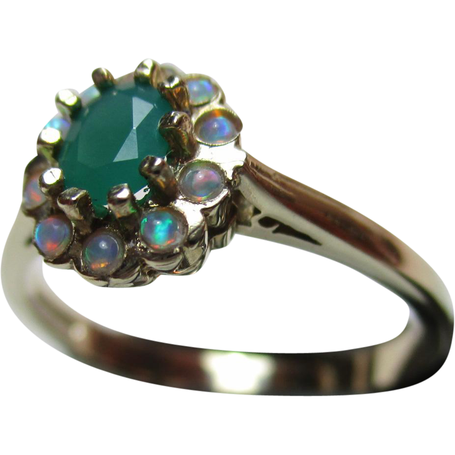 Pretty Vintage 9ct Solid Gold Opal + Chrysoprase Gemstone Cluster Ring