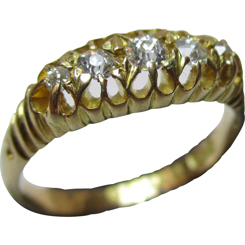 Charming Antique{Chester 1915} 18ct Solid Gold 5-Stone Diamond Gemstone Ring{3.3 Grams}