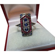 Superb 'Art Deco' 15ct Solid Gold Ruby + Sapphire Gemstone Ring