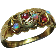 Ornate Victorian{Birmingham 1899} 18ct Solid Gold 5-Stone Ruby + Opal Gemstone Ring