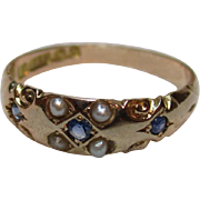 Ornate Edwardian{Birmingham 1908} 15ct Solid Gold 7-Stone Sapphire + Split Seed-Pearl Gemstone Ring