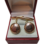 Gents' Decorative Antique 9ct Rose Gold 'Torpedo + Button' Chain-link Cufflinks{3.6 Grams}