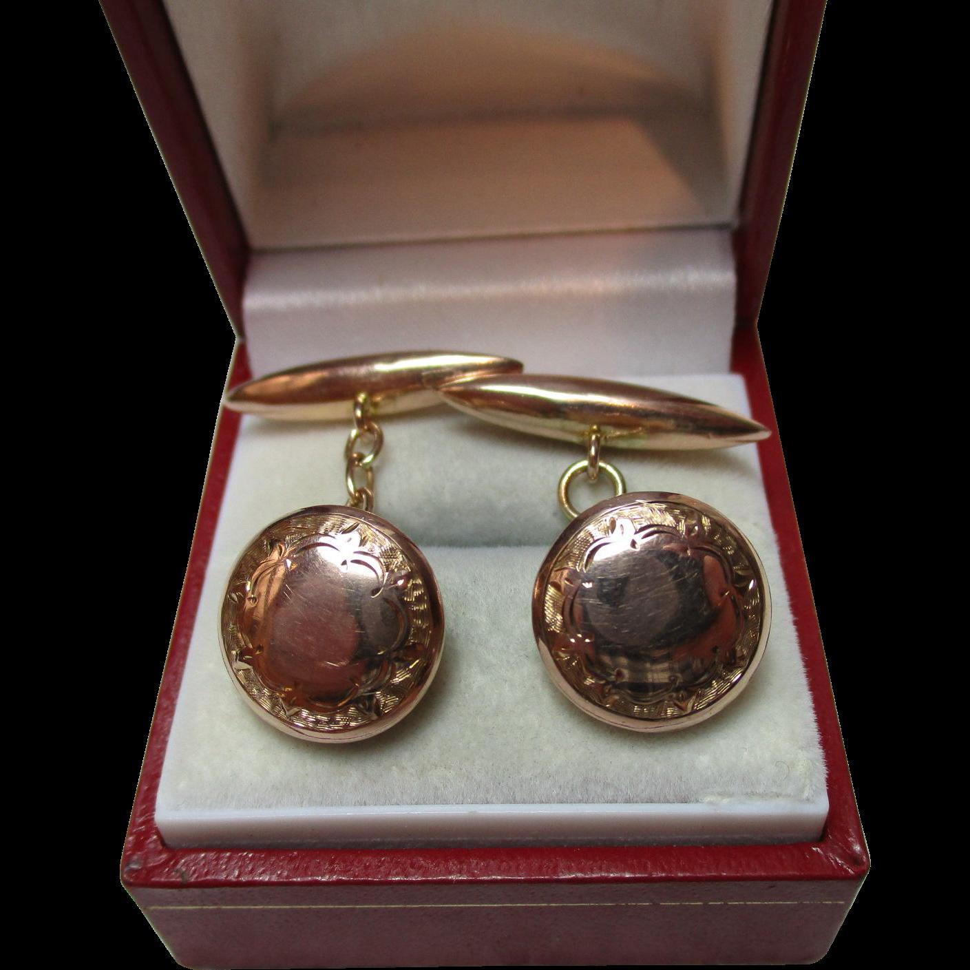 Gents' Decorative Antique 9ct Rose Gold 'Torpedo + Button' Chain-link Cufflinks{3.6 Grams}