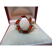 Pretty Vintage 9ct Solid Gold Diamond, Opal + Hessonite Garnet Gemstone Cluster Ring{3.3 Grams}