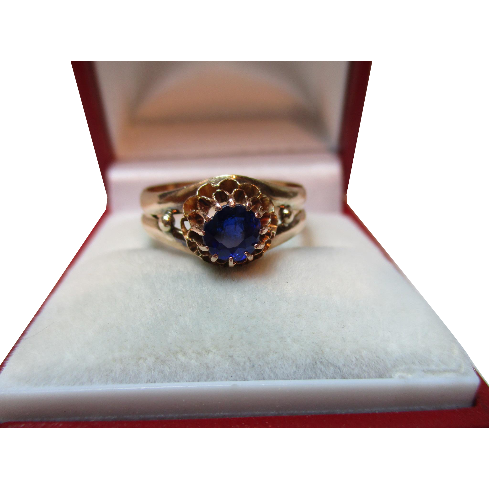 Ornate Georgian 15ct Gold Blue Stone Solitaire Gemstone Ring