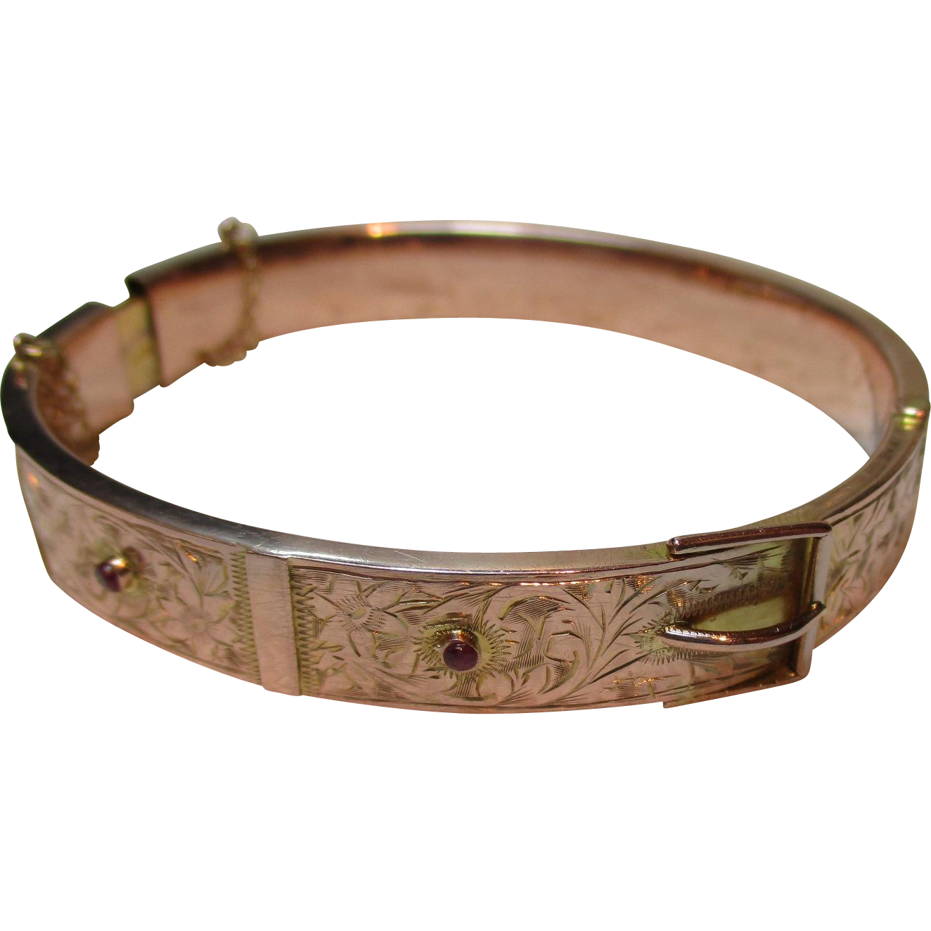 Decorative Edwardian{Chester 1906} 9ct Rose Gold Ruby Gemstone Buckle Bangle{13.9 Grams}