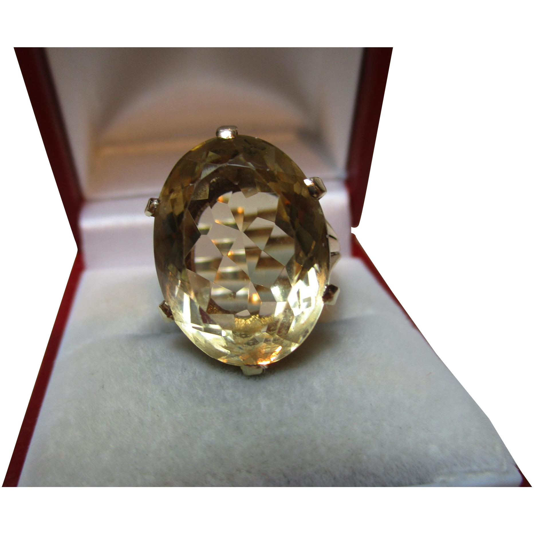 Decorative Vintage{Birmingham 1963} 9ct Solid Gold 'Cushion Shaped' Citrine Gemstone Ring{7.5 Grams}