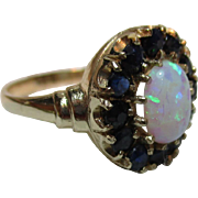 Pretty Vintage 9ct Solid Gold Sapphire + Opal Gemstone Cluster Ring{3.1 Grams}