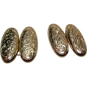 Gents'{Birmingham 1922} Decorative 9ct Solid Gold 'Engraved', Oval Shaped Chain-link Cufflinks